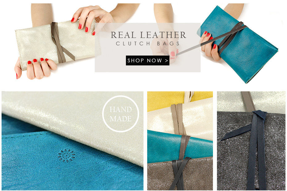 Real leather clutch bags from POM Boutique