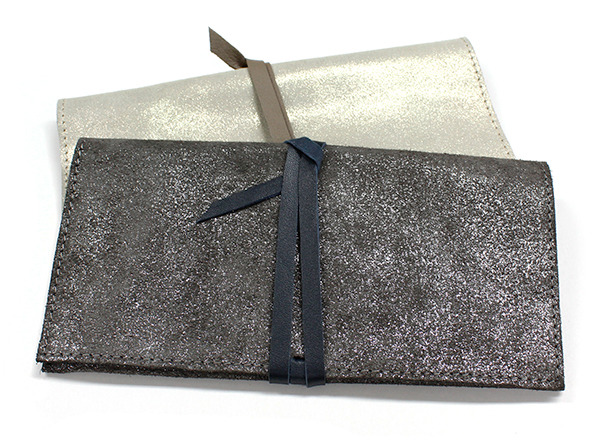 Metallic clutch bags from POM Boutique