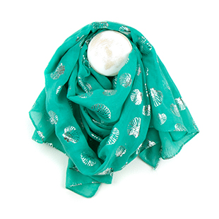 Pom Boutique aqua blue metallic print scarf