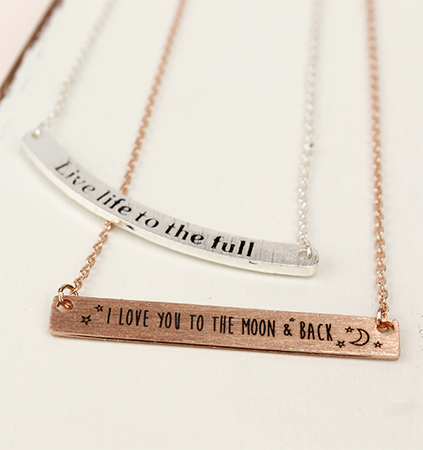 Engraved affirmation jewellery from POM Boutique