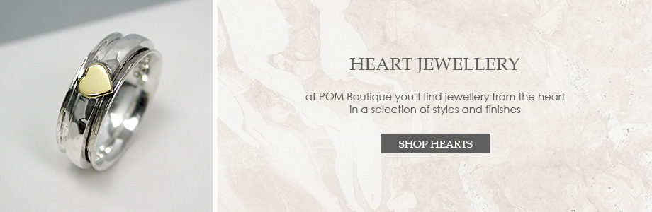silver heart jewellery and silver plated heart jewellery from POM Boutique