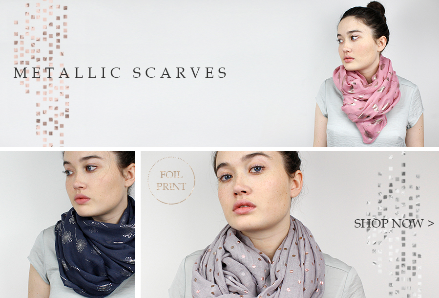 Metallic printed scarves from POM Boutique