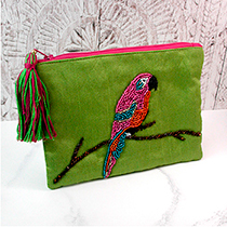 Pom Boutique beaded parrot purse