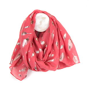Pom Boutique coral pink metallic scarf