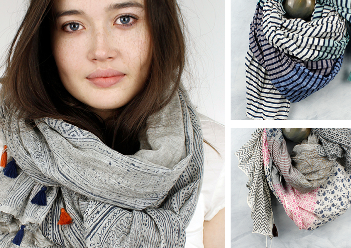 Cotton printed scarves from POM Boutique
