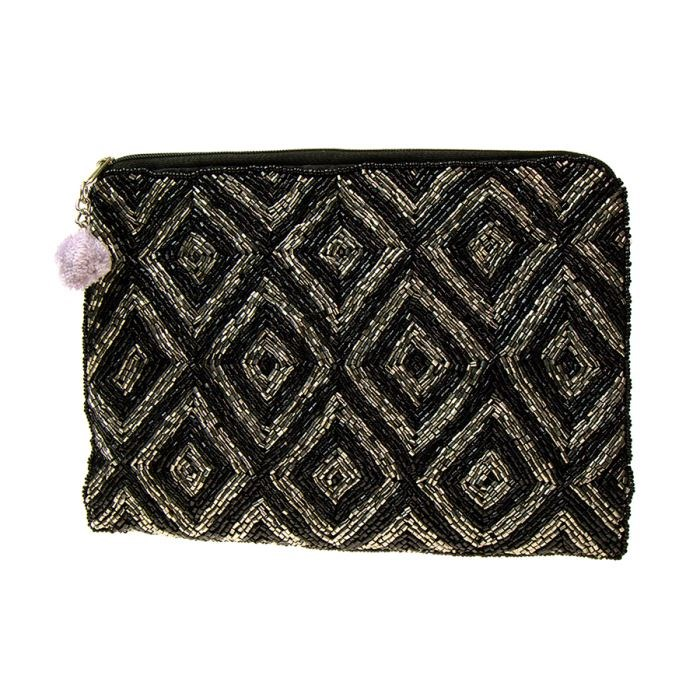 4562862b029 Black and metallic silver beaded clutch bag | Image 1