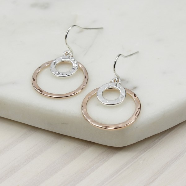 Silver plated and rose gold double hoop earrings | Image 1
