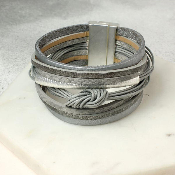 Grey leather layered knot bracelet with silver detail | Image 1