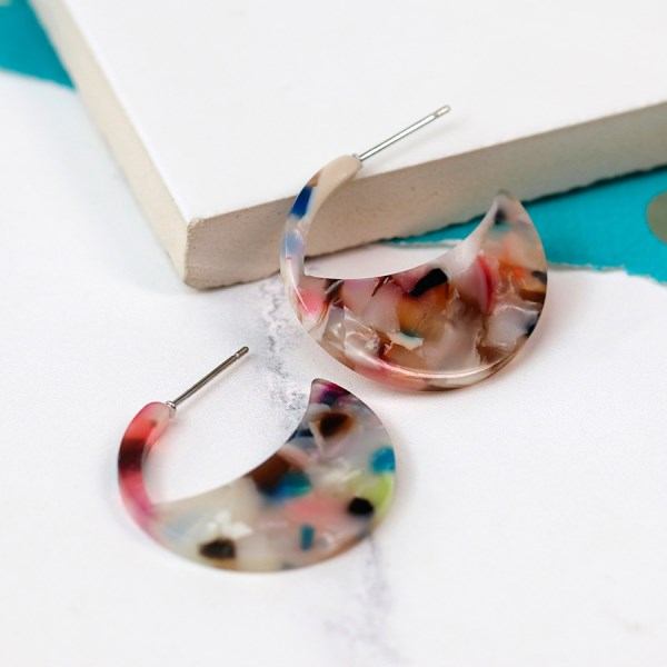 Multicoloured crescent disc resin stud earrings | Image 1