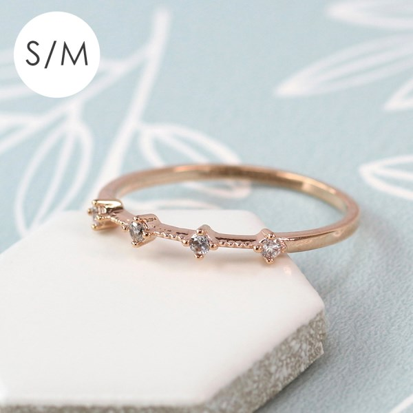 Rose gold plated fine milgrain and crystal ring - S/M | Image 1