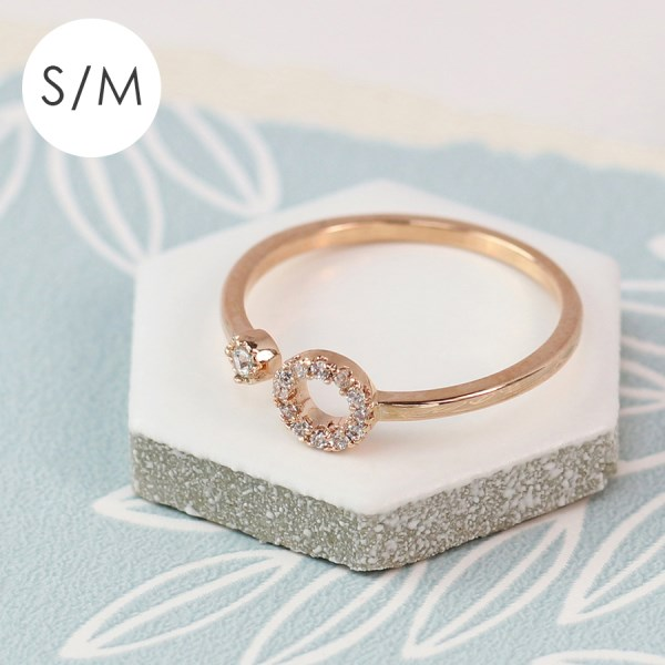 Rose gold plated open circle and crystal ring - S/M | Image 1