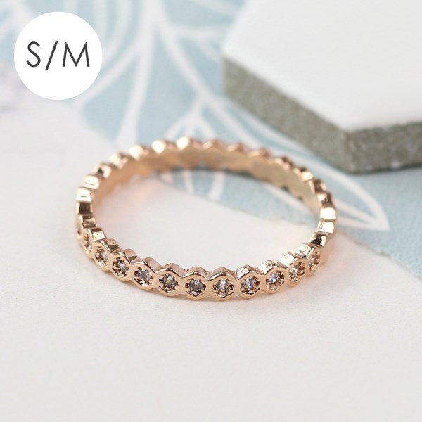 Rose gold plated hexagon ring with crystals - S/M | Image 1