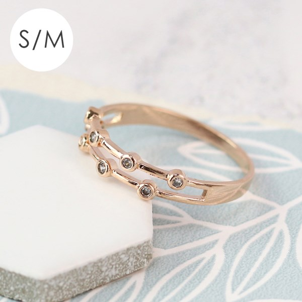 Rose gold double layer ring with crystals - S/M | Image 1