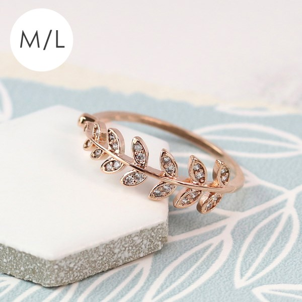 Rose gold plated leaf ring with crystal inset - M/L | Image 1