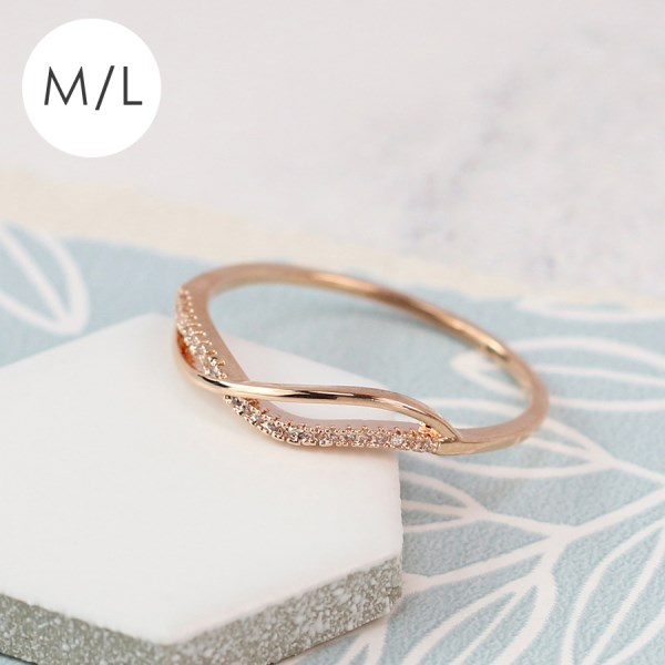 Rose gold plated crossed wave and crystal ring - M/L | Image 1