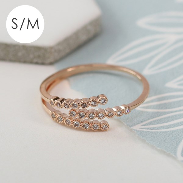 Rose gold plated triple strand crystal inset ring - S/M | Image 1