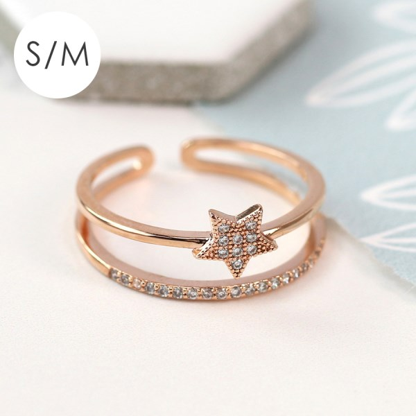 Rose gold plated layered ring with crystal star - S/M | Image 1