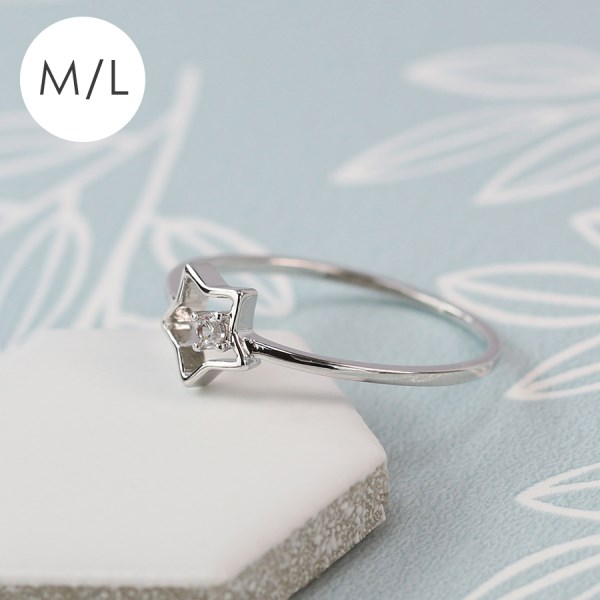 White gold plated open star ring with crystal - M/L | Image 1