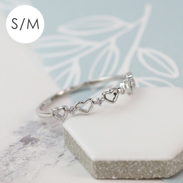 White gold plated tiny hearts and crystal ring - S/M | Image 1