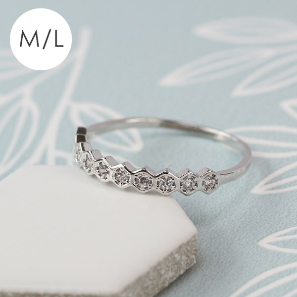 White gold plated hexagons and crystals ring - M/L | Image 1