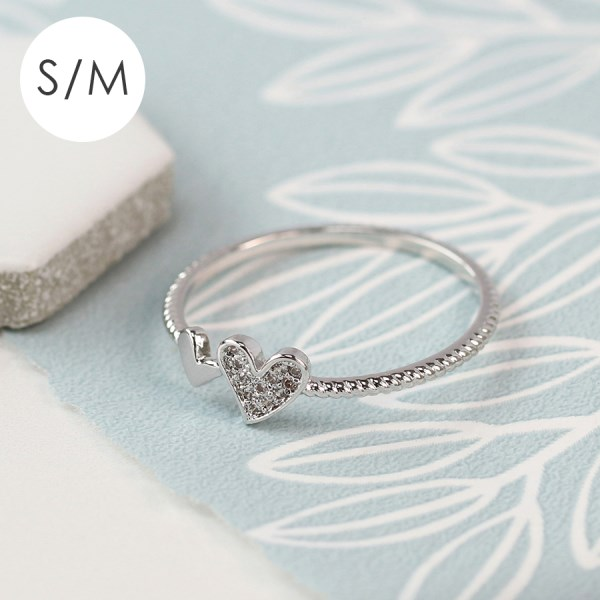 White gold plated double heart and crystal ring - S/M | Image 1