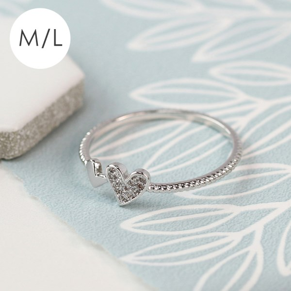 White gold plated double heart and crystal ring - M/L | Image 1