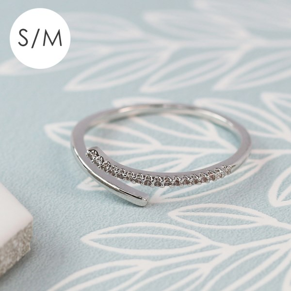 White gold plated open ring with crystal curve - S/M | Image 1