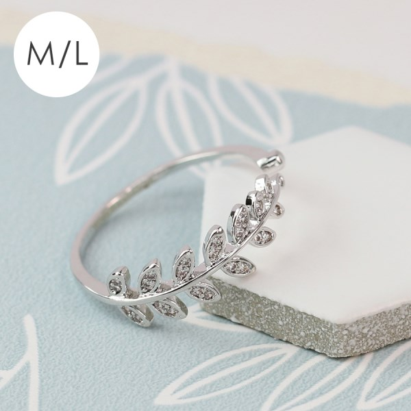White gold plated leaf ring with inset crystals - M/L | Image 1