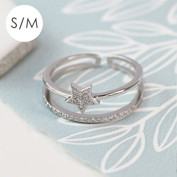 White gold plated layered ring with crystal star - S/M | Image 1
