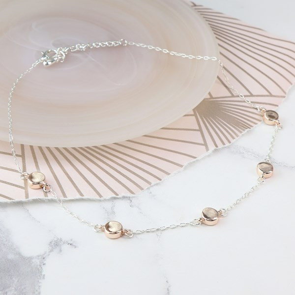 Silver plated necklace with rose gold plated discs | Image 1