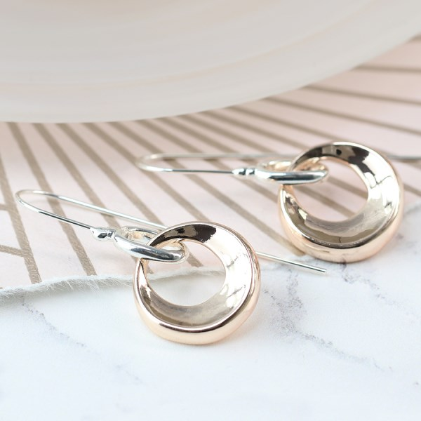 Rose gold plated bevelled hoop and silver hook earrings | Image 1