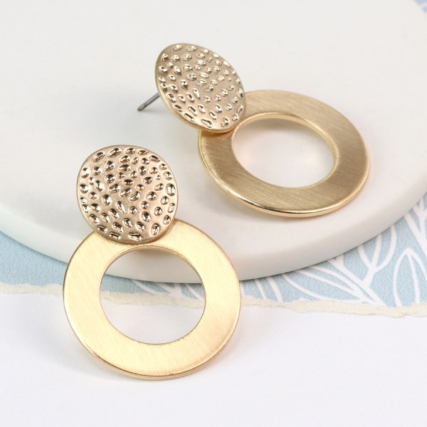 Gold plated brushed hoop and textured disc earrings | Image 1