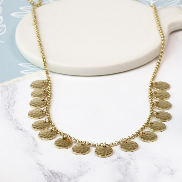 Gold plated hammered multi disc necklace in a worn finish | Image 1