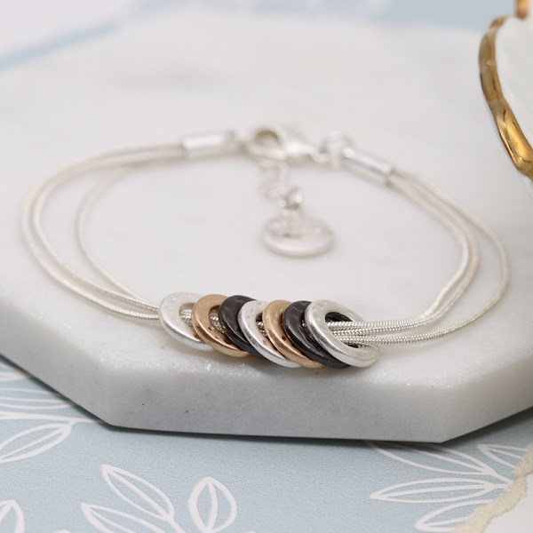 Mixed metallic multi hoop and triple chain bracelet | Image 1