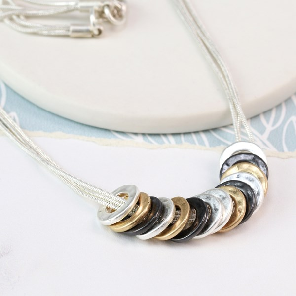 Mixed metallic multi hoop and triple chain necklace | Image 1