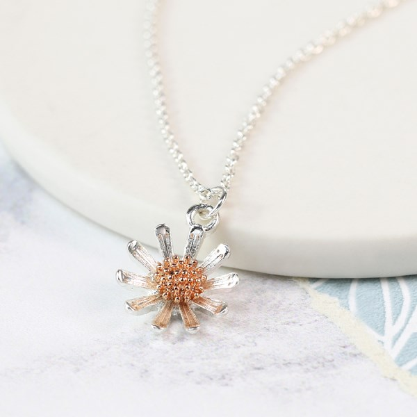 Silver plated daisy necklace with rose gold detail | Image 1