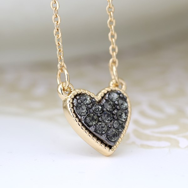Gold plated heart necklace with black crystal centre | Image 1