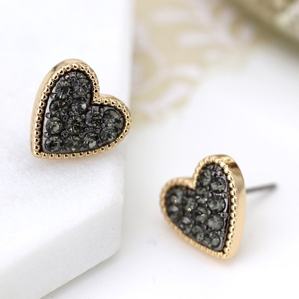 Gold plated heart stud earrings with black crystal centre | Image 1