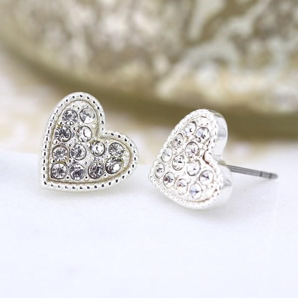 Silver plated heart and crystal stud earrings | Image 1