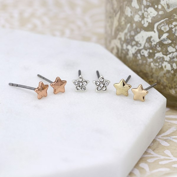 Triple star earring set in gold, rose gold and silver plating with crystals. | Image 1
