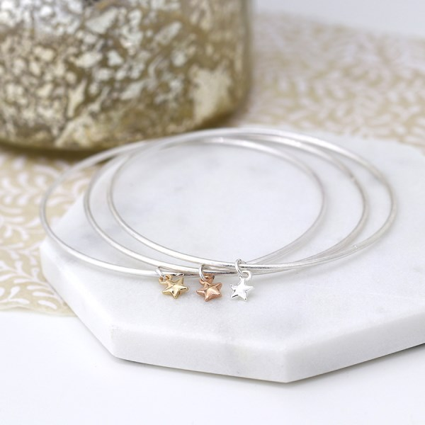 Triple bangle set with silver, gold and rose gold plated star charms | Image 1