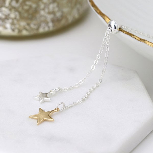 Silver and gold plated double star lariat necklace | Image 1