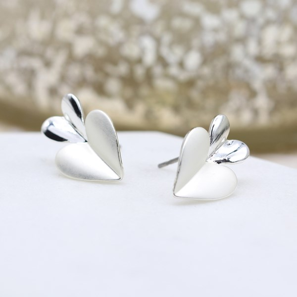 Silver plated and epoxy resin double heart stud earrings | Image 1