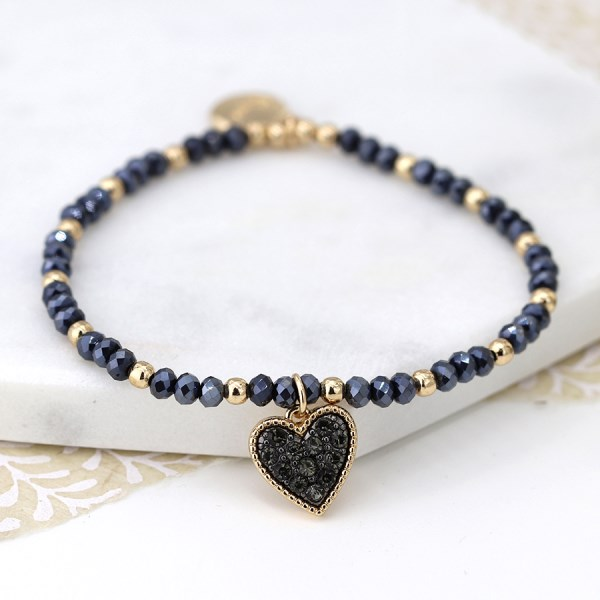 Black crystal and golden bead bracelet with heart charm | Image 1