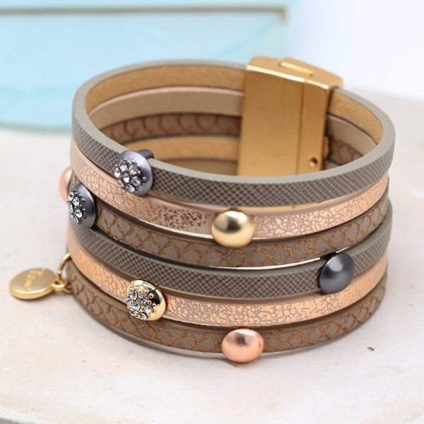 Multi strand leather bracelet with mixed metal crystal studs | Image 1