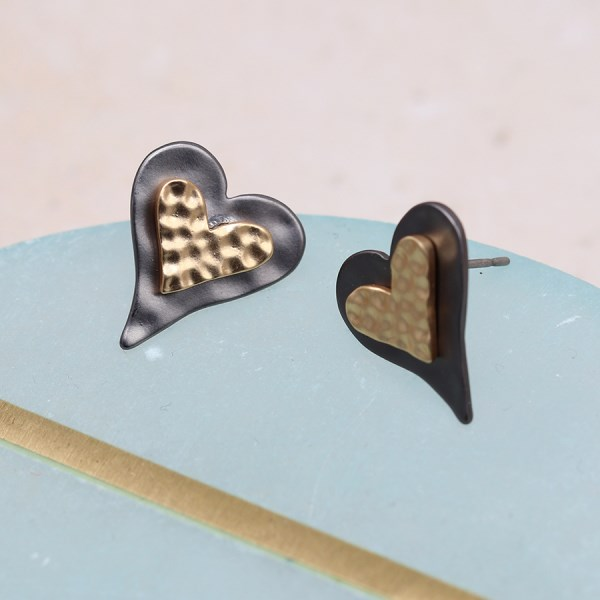 Double heart stud earrings with mixed metallic finishes | Image 1