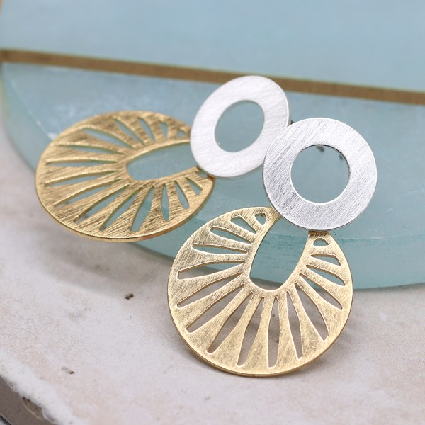 Silver and gold plated scratched sun disc earrings | Image 1