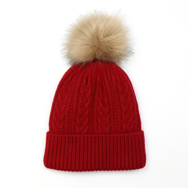 Deep red cable knit winter hat with natural faux fur pom pom | Image 1