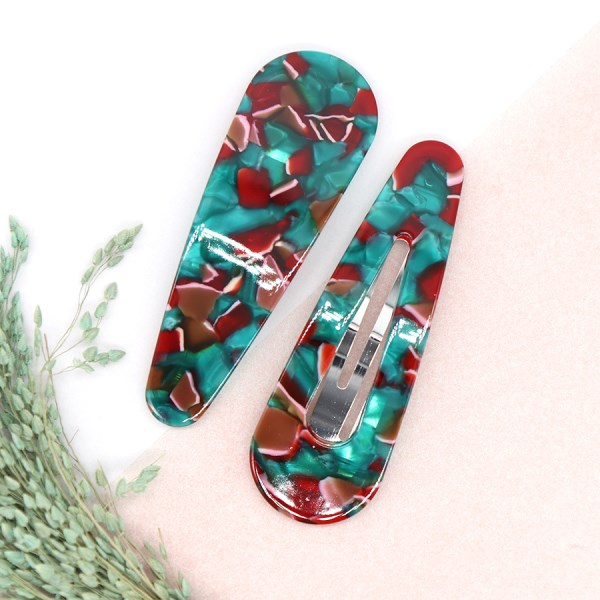 Green and red mix double teardrop hairclip set | Image 1