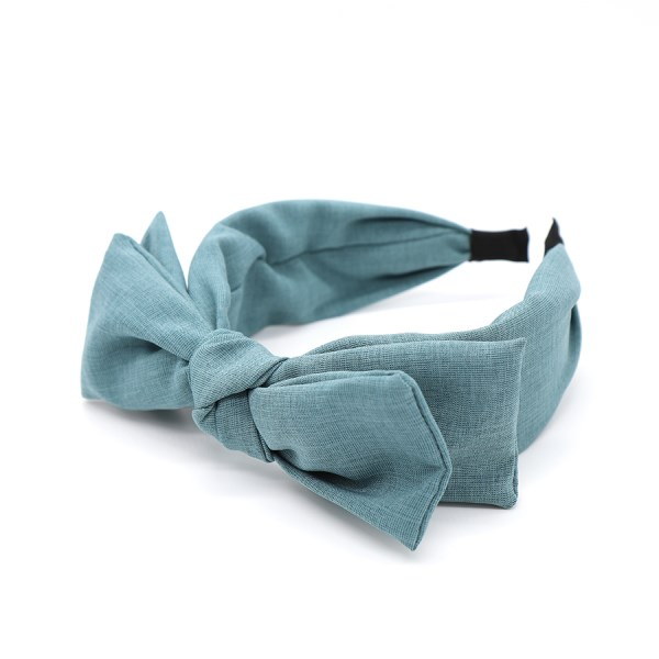 Double bow fabric covered headband in denim blue | Image 1